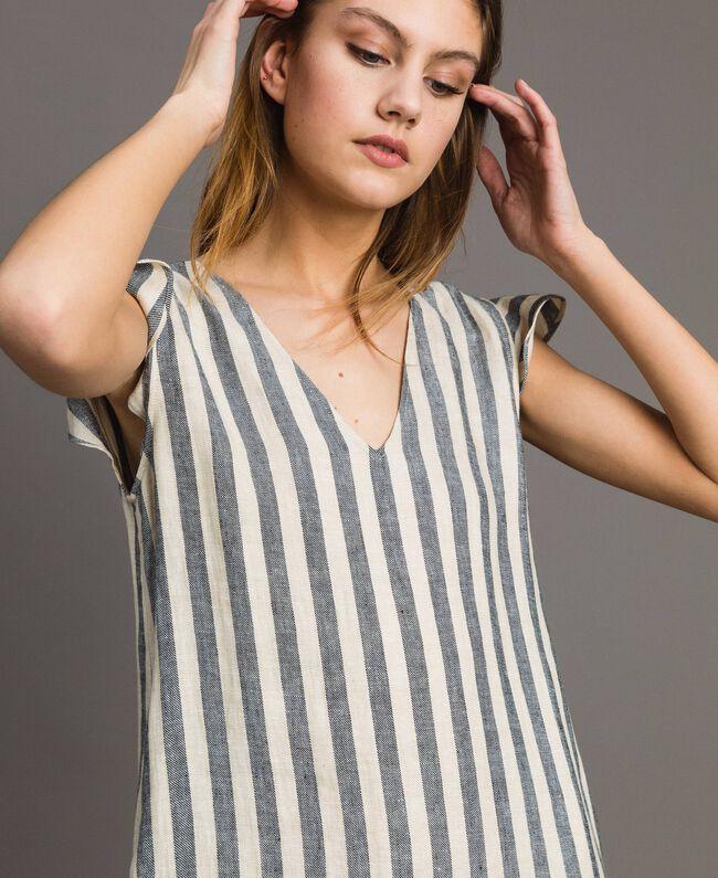 "Two-tone striped linen dress Two-tone Black / ""Marzipan"" Beige Woman 191TT2315-05"