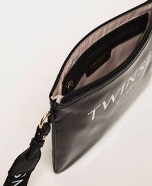Patent leather effect faux leather pochette Black Woman 201TA717A-04