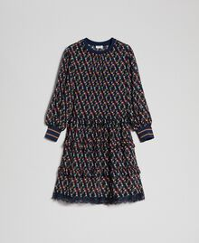 Printed georgette dress with frills Fox Geometric Print Woman 192ST2152-0S
