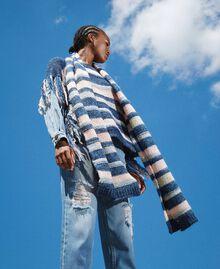 Multicolour stripe scarf Blue Striped Multicolour Woman 202MA4335-0S