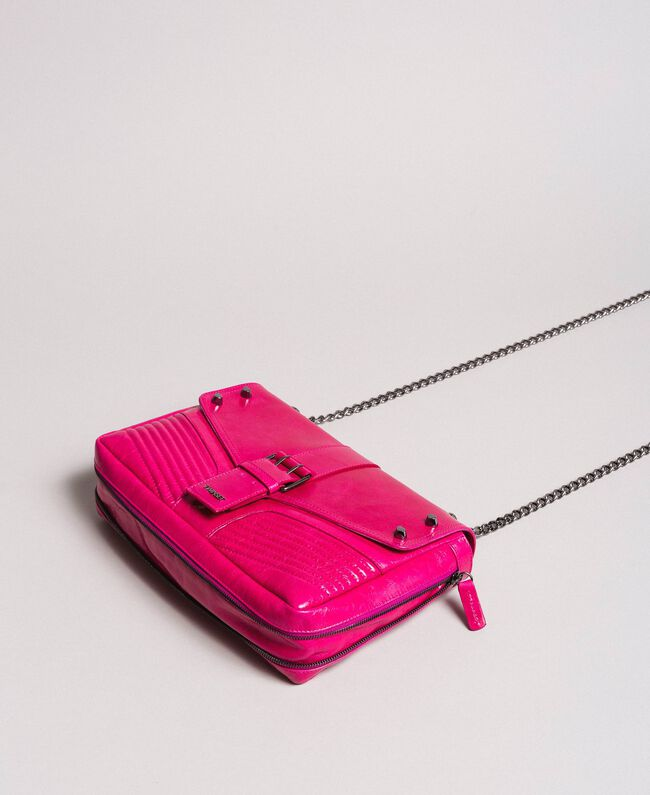 Rebel leather shoulder bag Fuxia Woman 191TO7233-01