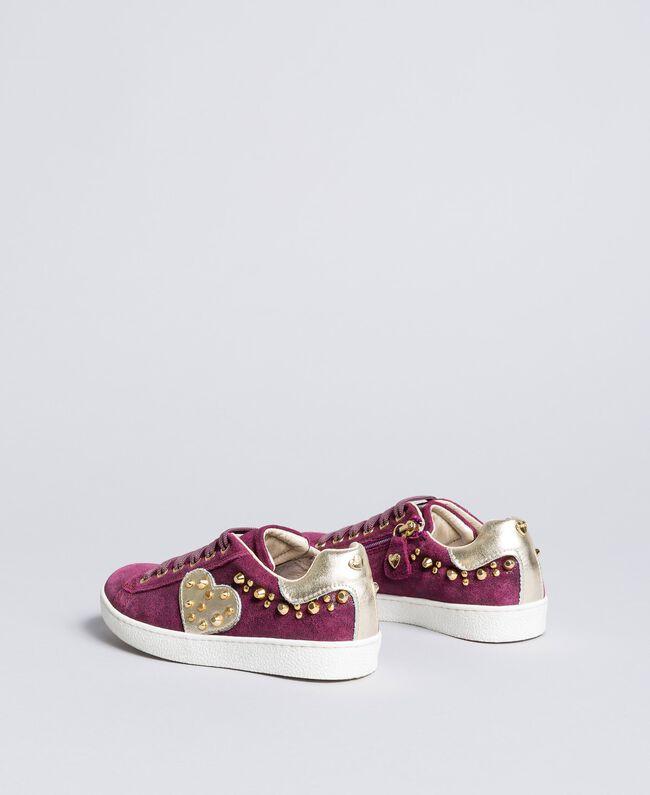 Baskets en cuir glacé Violet Raisin Doux Enfant HA88EN-03