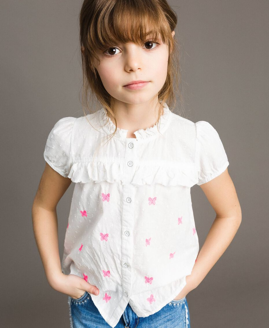 Plumetis shirt with butterflies Optical White / Neon Fuchsia Embroidery Child 191GJ2371-0S