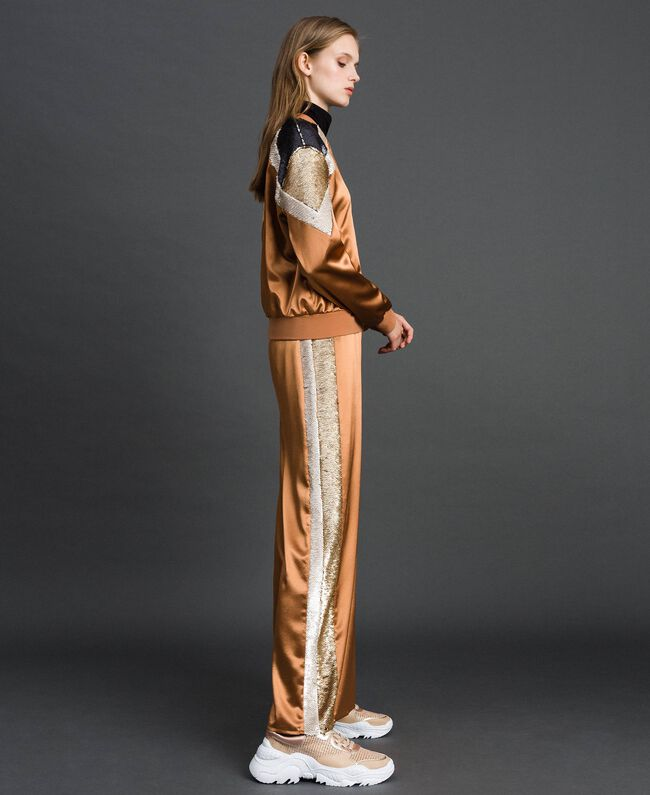 """Satin palazzo trousers with sequins """"Camel Skin"""" Beige Woman 192LI2RBB-05"""