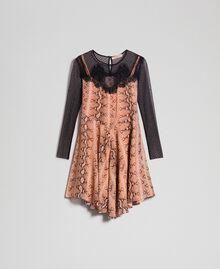 Платье из жоржета с животным принтом Принт Питон Верблюжий женщина 192TT2273-0S