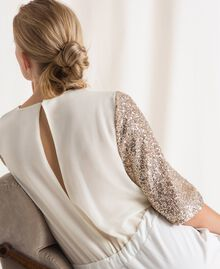 Jumpsuit with criss-cross and sequins Ivory Woman 201LB21CC-04
