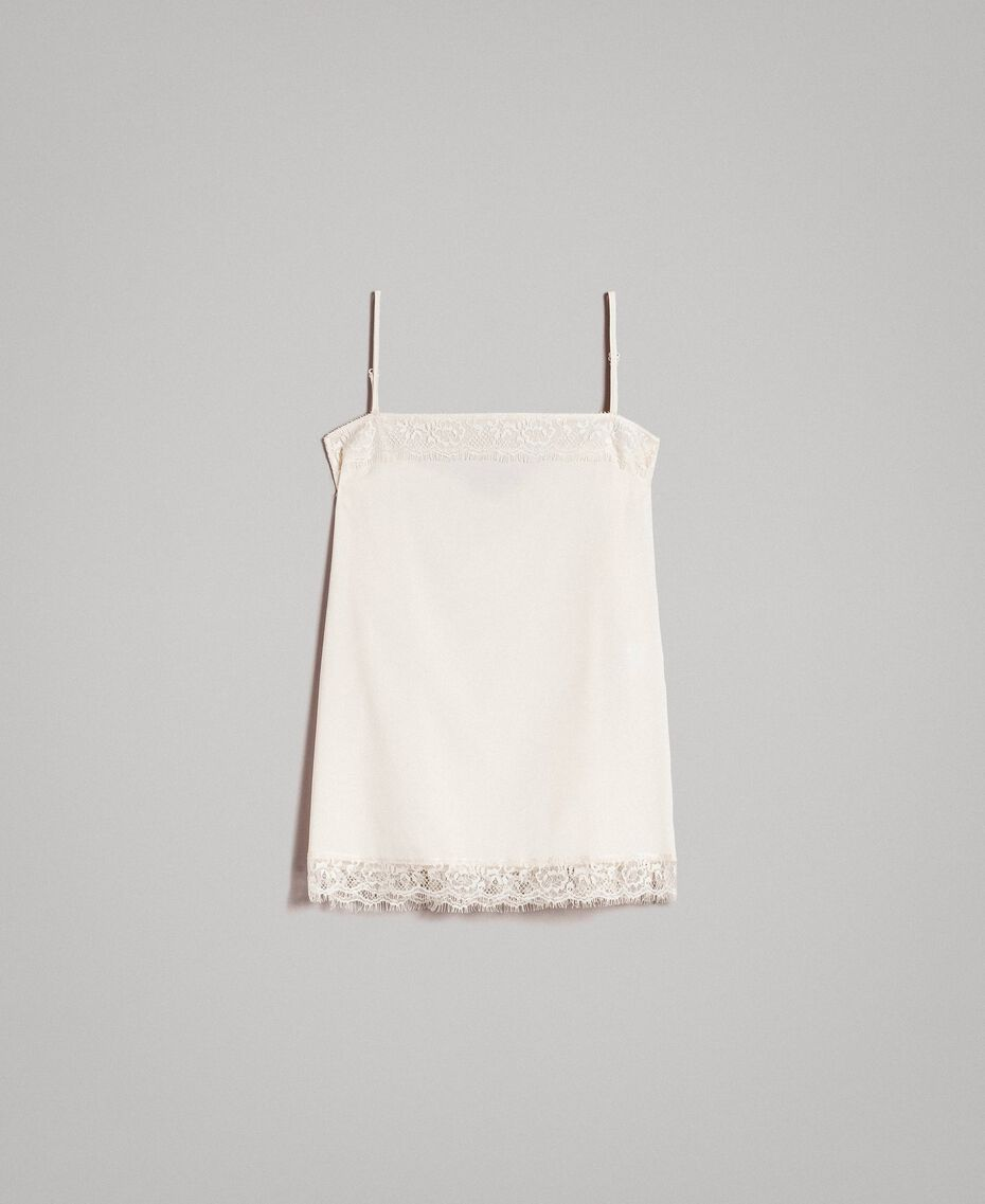 "Crêpe de Chine top with lace ""Shell"" Beige Woman 191MT2450-0S"