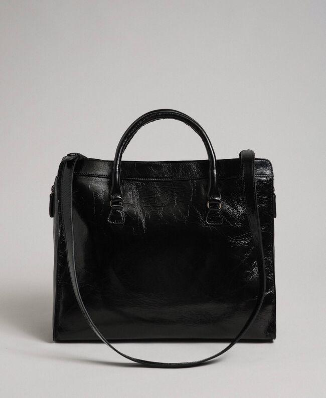 Sac cabas en cuir avec boucle décorative Noir Femme 192TO7235-04