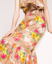 Camouflage and floral print skirt Multicolour Hibiscus Print Woman 201MT2384-05