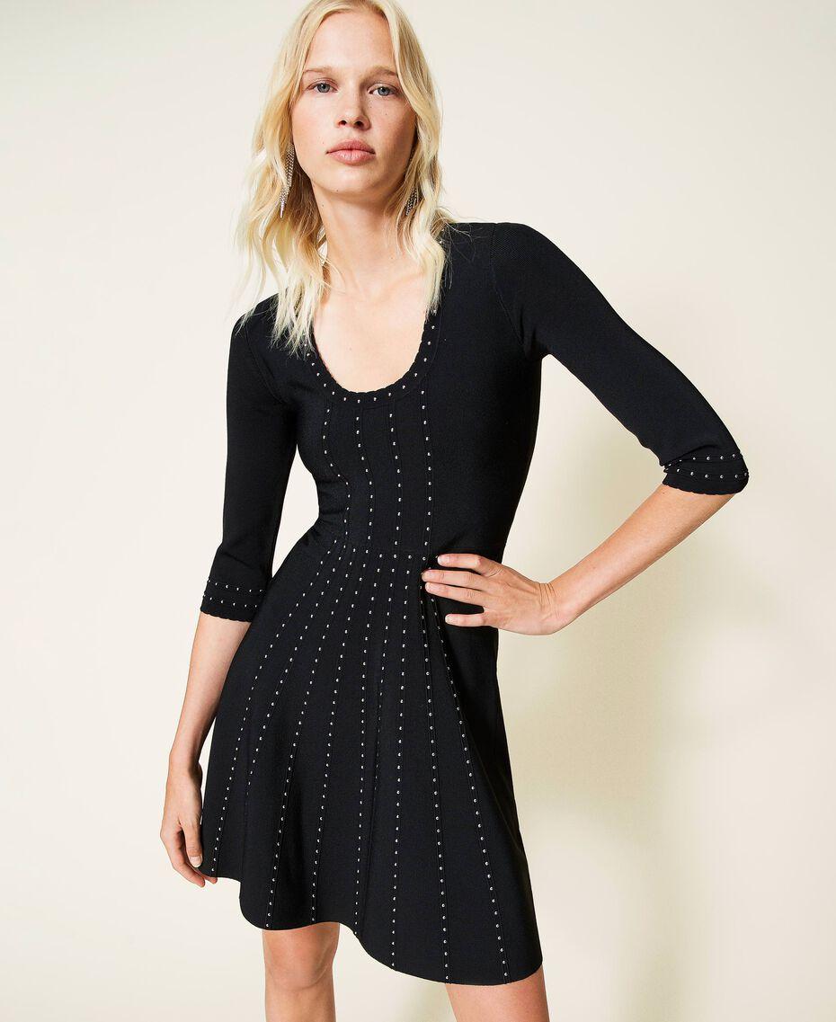 Robe en maille avec clous Noir Femme 212TP3040-01