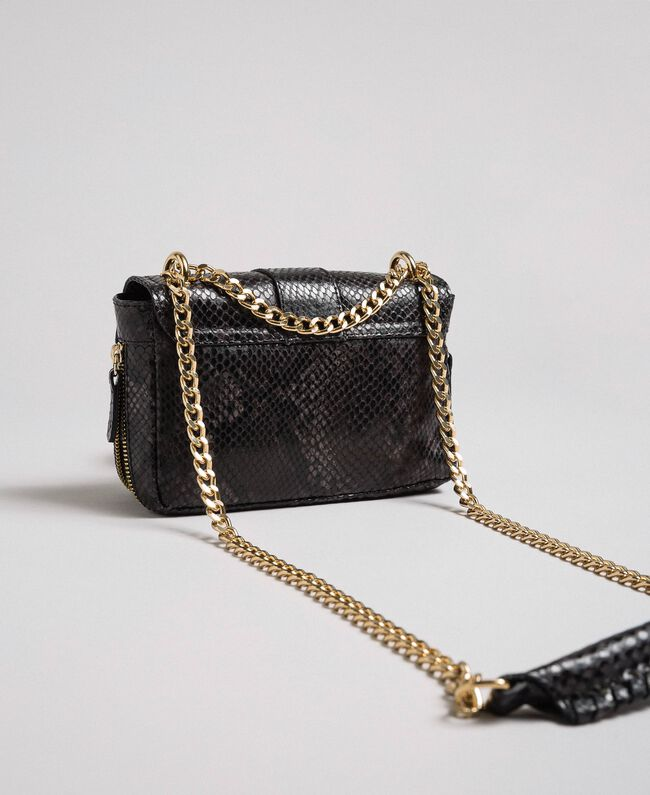 "Small Rebel shoulder bag with python print ""Anthracite"" Grey Python Print Woman 192TA7231-04"