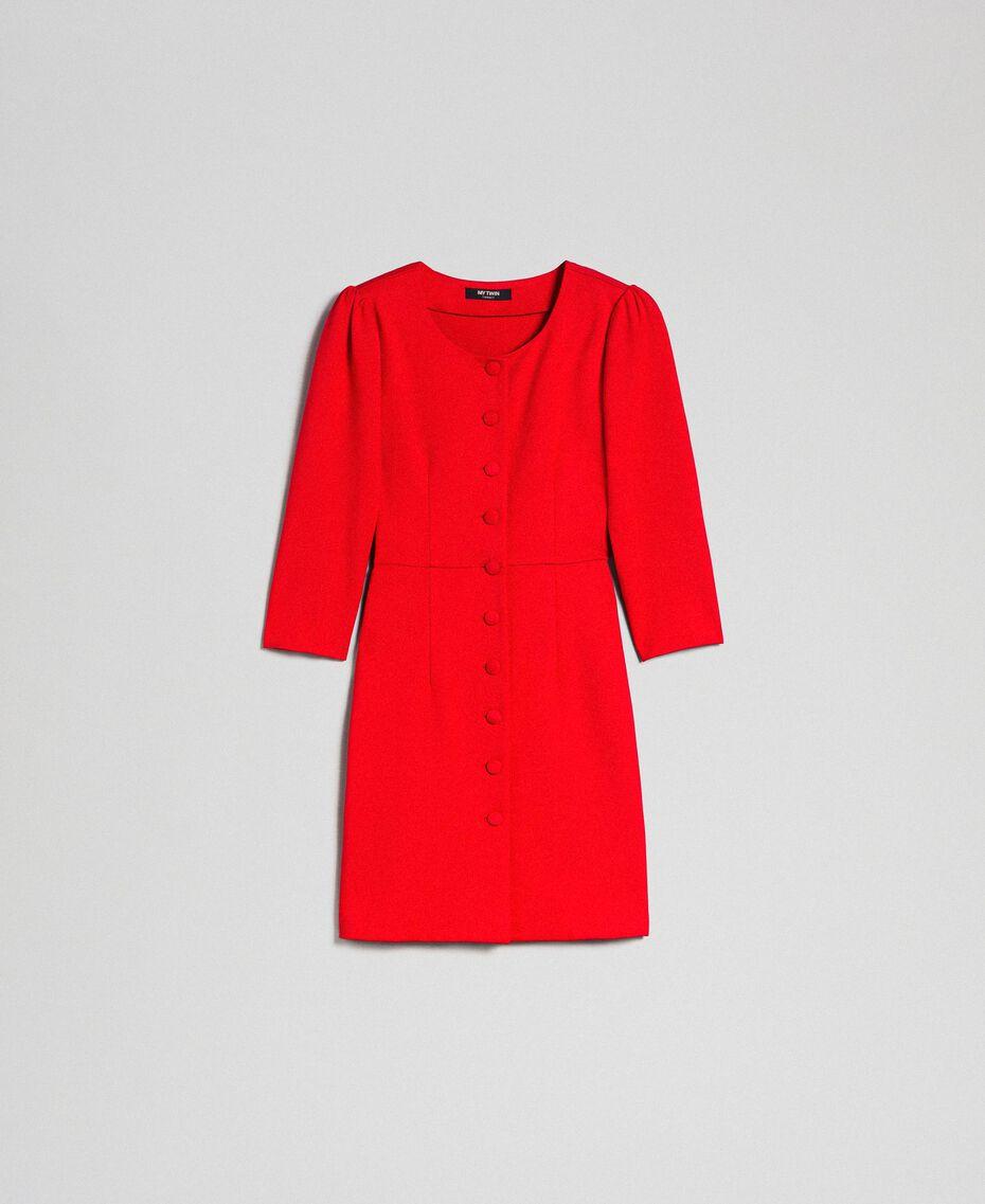Robe fourreau avec boutons recouverts Rouge Coquelicot Femme 192MP2179-0S