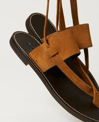 Suede thong sandals