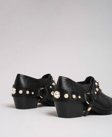 Texas ankle boots with straps and pearls Black Woman 192MCP012-03