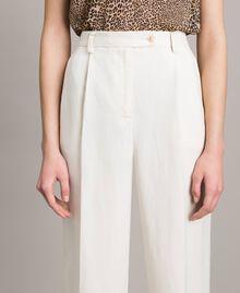 Pantalon à coupe cigarette en lin mélangé Blanc Neige Femme 191TP2201-04