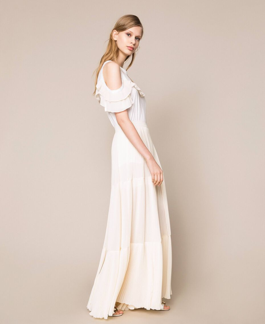 Pleated georgette trousers Antique White Woman 201TT2094-03
