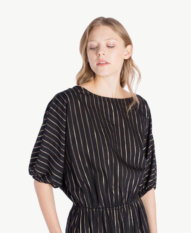 Kleid aus Jacquard Jacquard Schwarz / Goldene Streifen Frau TS82VC-04