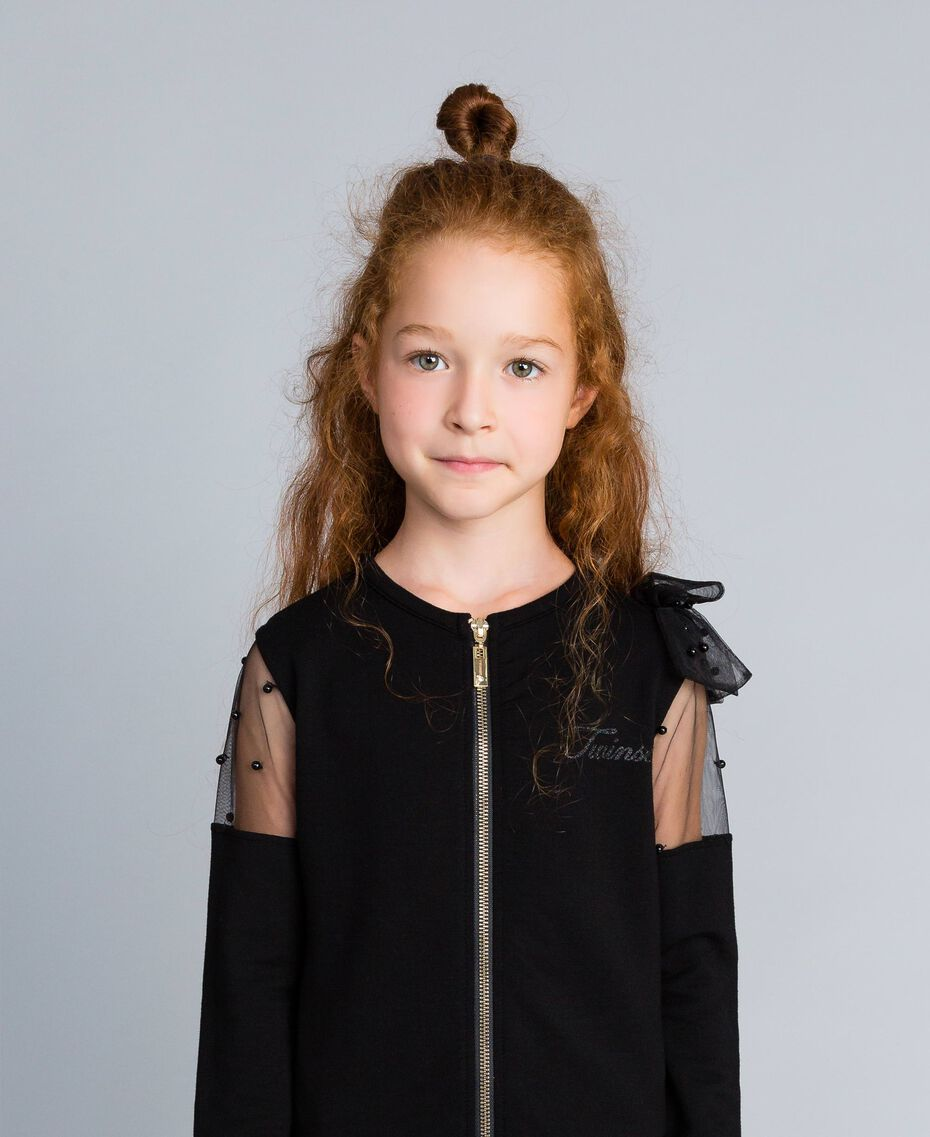 Viscose sweatshirt with embroidered tulle Black Child GA82LN-0S