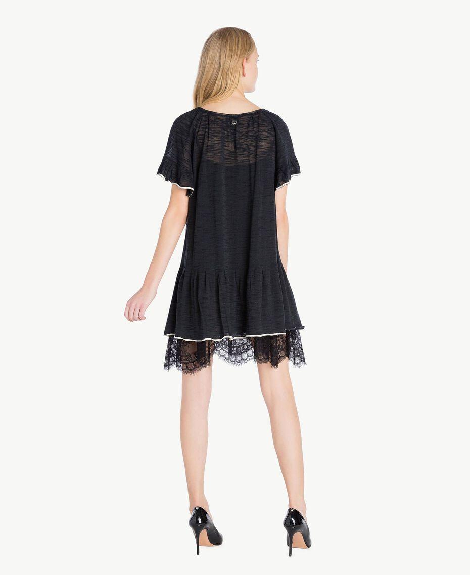Kleid mit Spitze Zweifarbig Schwarz / Pergamentweiß Frau YS83BC-03