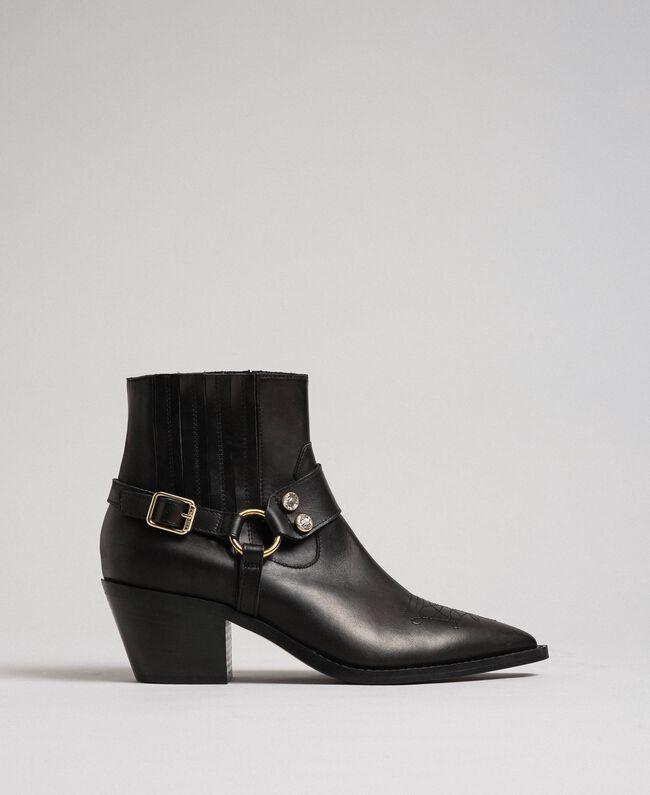 Boots à talons en cuir Noir Femme 192TCP10G-03
