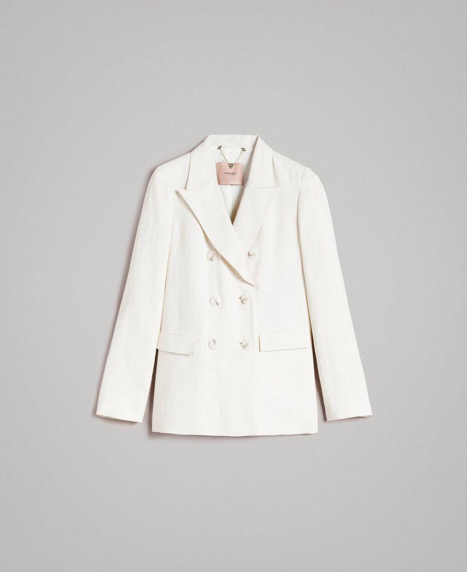 Blazer en lin mélangé Blanc Neige Femme 191TP2203-0S