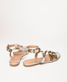 "Flat leather sandals with crocodile print ""Titanium"" Grey Croc Print Woman 201TCP054-03"