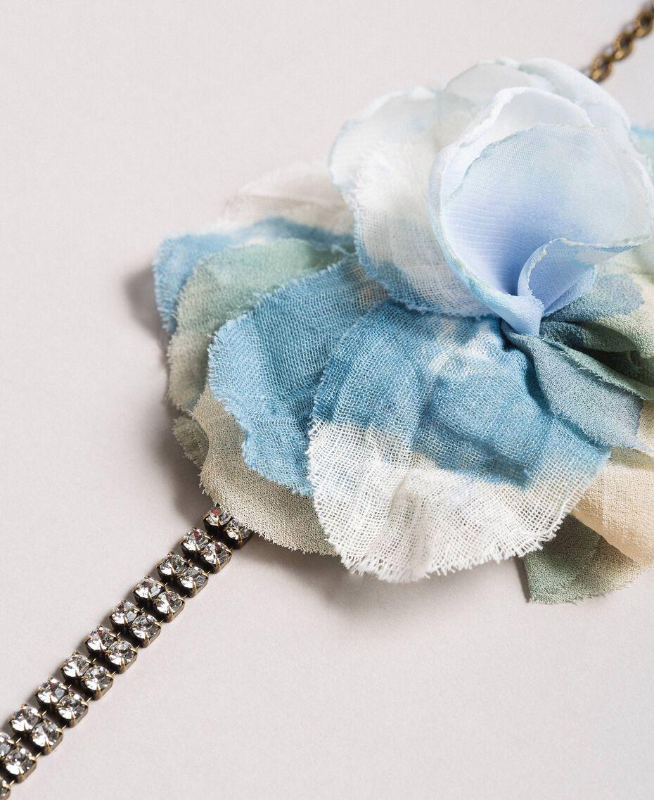 Rhinestone choker with flower Mykonos Light Blue Woman 191TA431H-02
