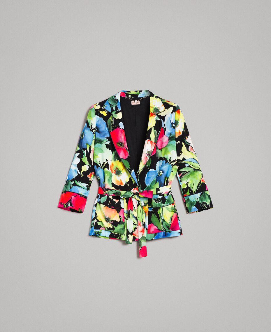 Marocain-Jacke mit Blumenmuster Motiv Schwarzer Garten Frau 191TT2470-0S