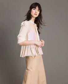 Georgette-Bluse mit Pailletten Blütenknospenrosa Frau 191TP2582-01
