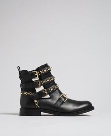 Leather biker boots with straps and studs Black Woman 192TCP01U-01