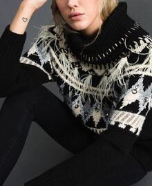 Jacquard jumper with embroideries and feathers Black Fair Isle Jacquard Woman 192TT3311-04