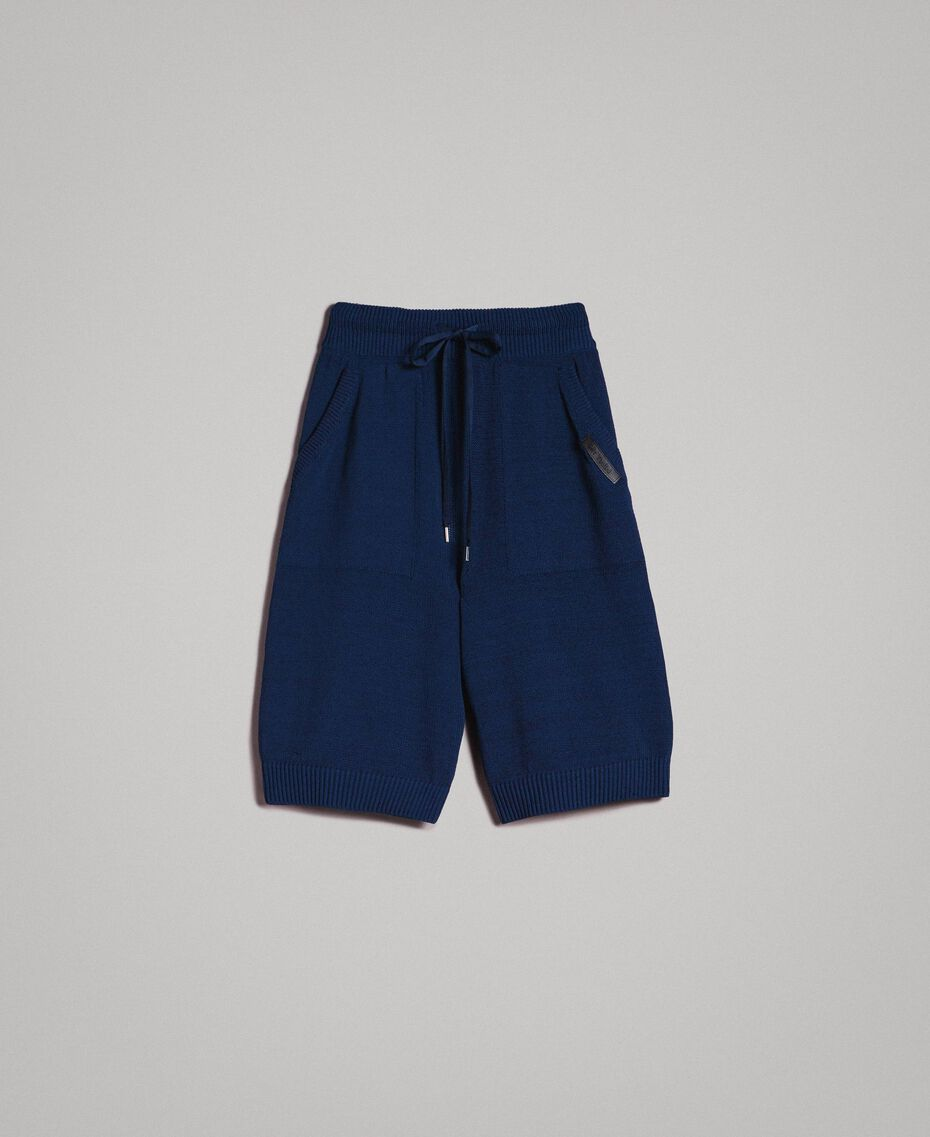 Bermuda-Shorts aus Baumwollmischung Blackout Blau Mann 191UT3084-0S