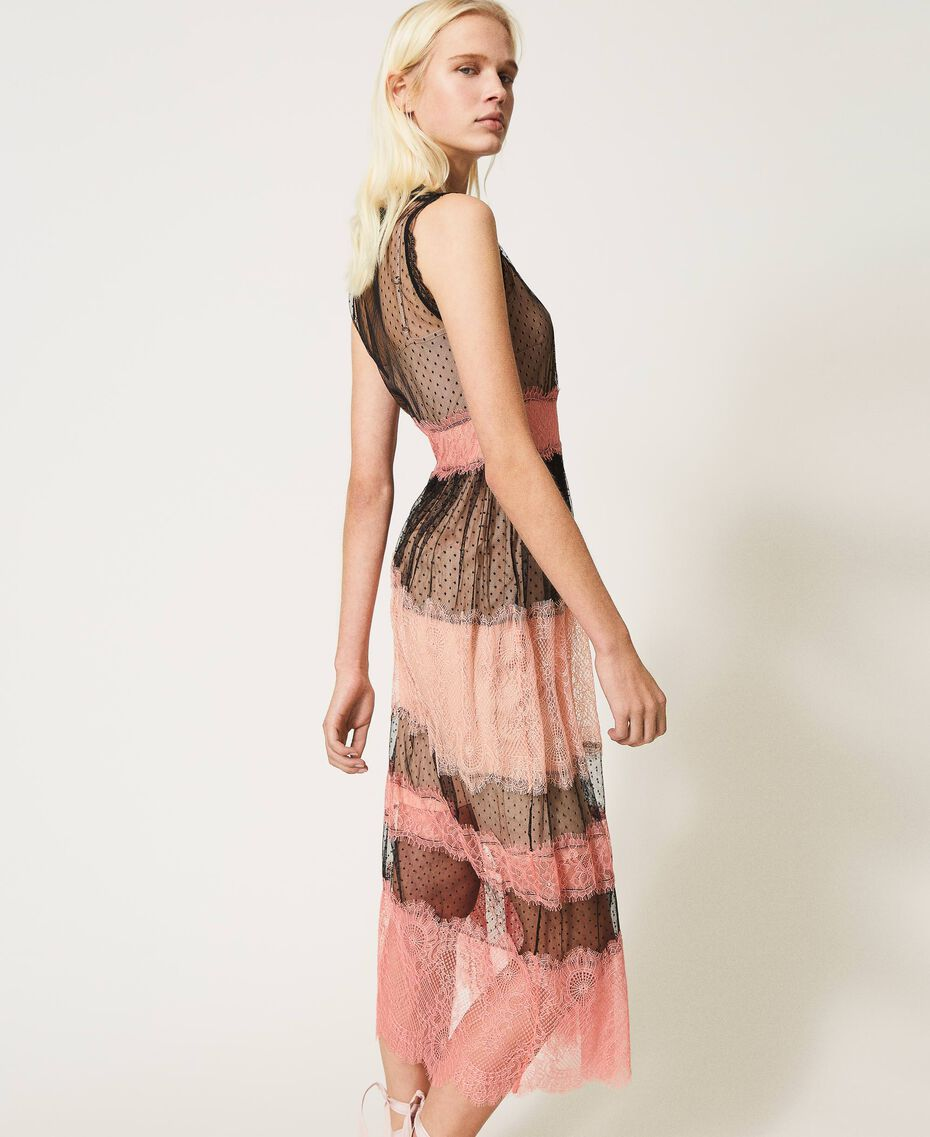 Robe longue en tulle et dentelle Bicolore Noir / Rose «Pêche Blossom» Femme 202TP2202-02