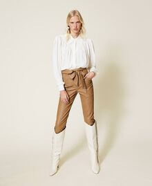 """Coated fabric carrot fit trousers """"Rum"""" Brown Woman 212TP2021-01"""
