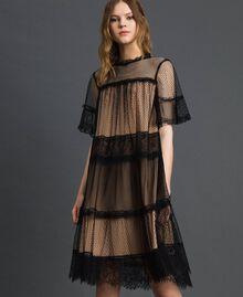 Robe en tulle, dentelle de Valenciennes et plumetis Bicolore Noir / Nude Femme 192TP2331-01