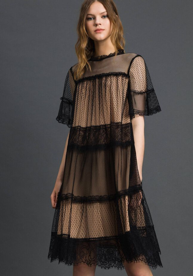 Платье из тюля, кружева валансьен и плюмети