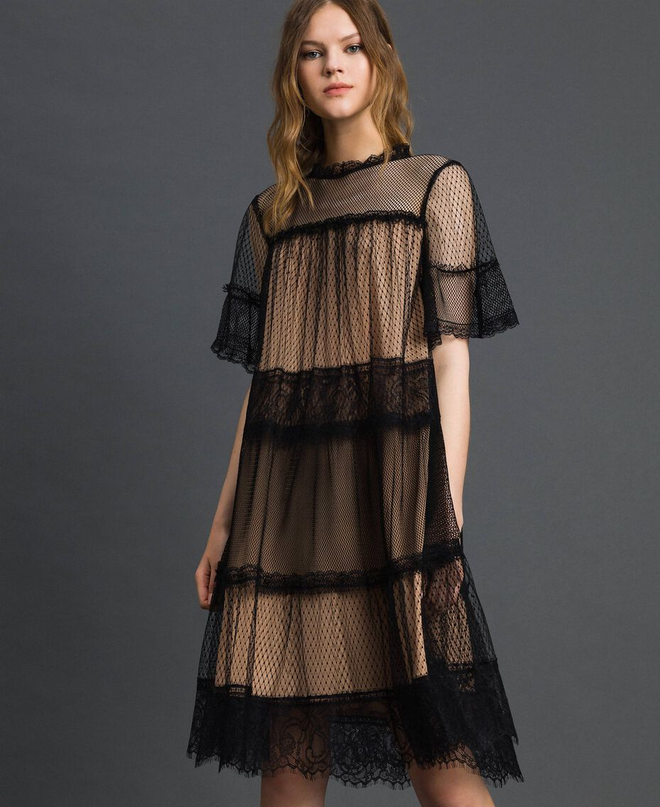 Tulle, Valenciennes lace and plumetis dress Two-tone Black / Nude Woman 192TP2331-01