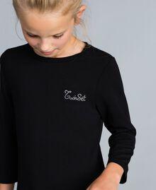 Robe longue en jersey avec dentelle Bicolore Noir / Blanc Cassé Enfant GA82GN-04