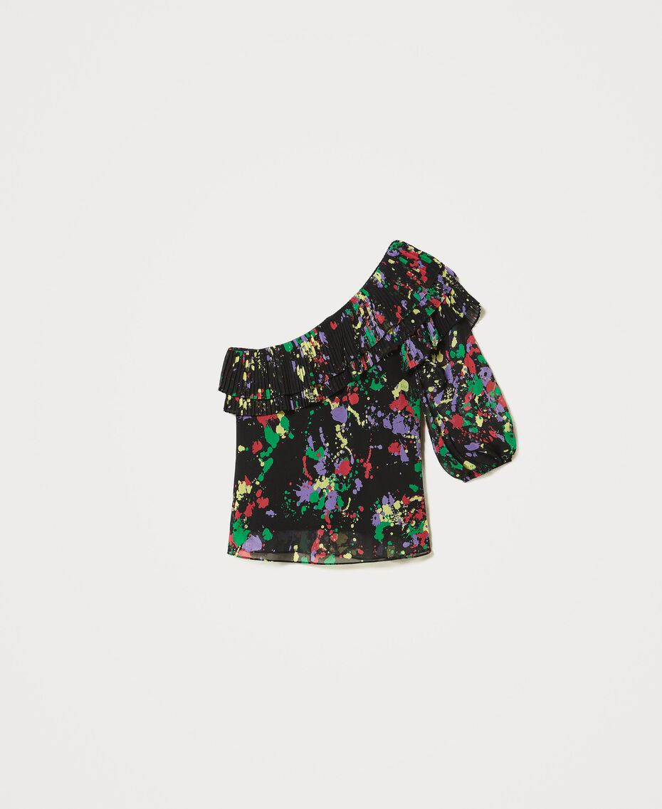"""Rigel"" printed georgette one-shoulder top Black ""Spots"" Multicolour Woman 211MT2653-0S"