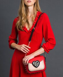 Two-tone faux leather shoulder bag with studs Poppy Red / Pale Pink Woman 192MA7103-0S