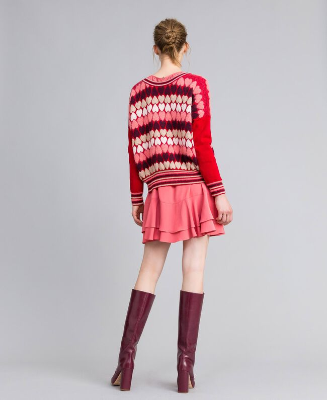 """Jumper with jacquard hearts """"Poppy"""" Red Heart Jacquard Woman PA837N-03"""