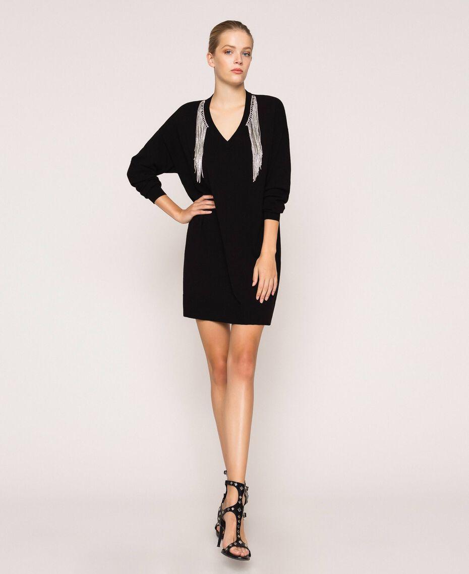 Robe décorée de franges en strass Noir Femme 201TP3080-01