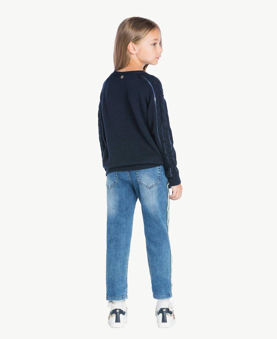 Pullover mit Zopfmuster Blue Night Weiblich GA73BA-03