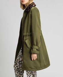 Manteau en satin technique avec col animalier Vert Vetiver Femme 192MP2121-01