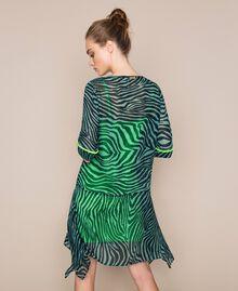 "Georgette animal print dress ""Atlantic Deep"" Green Zebra Print Woman 201LB2GGG-03"