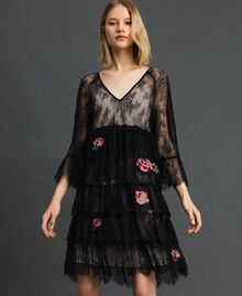 Valenciennes lace dress with floral embroidery Black Woman 192TP2586-02