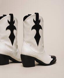 Zweifarbige Cowboystiefel aus Lederimitat Zweifarbig Lilie / Schwarz Frau 201MCP050-04