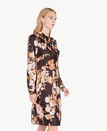 "Macro floral dress ""Nuditè"" Beige Print / Black IA7KFF-03"