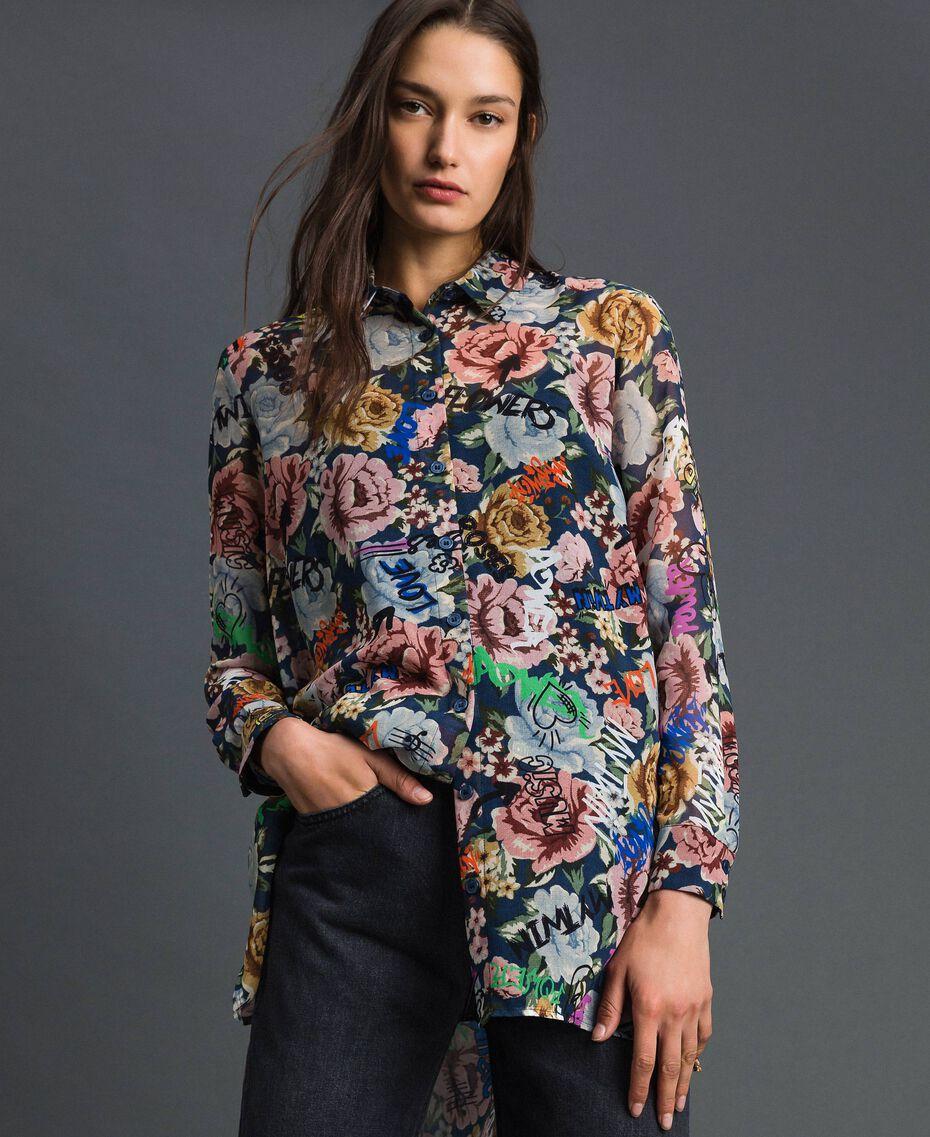 Длинная рубашка с цветочным принтом и граффити Принт Граффити Синий Цветок женщина 192MP222L-01