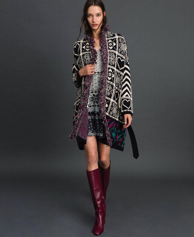 """Jacquard knit coat with fringes """"Snow"""" White Jacquard/ Black Woman 192TT3161-01"""